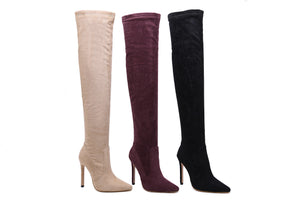 High heel pointed boots