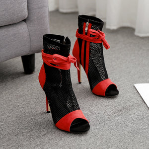 Sexy mesh hollow-out fish mouth high heel sandals female boots