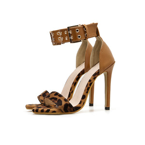Rivet sexy leopard print simple fashion high-heeled sandals