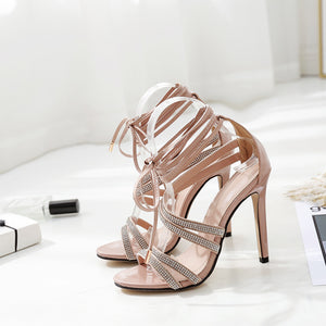 Sexy high-heeled sandals with water drill strap
