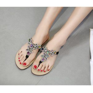 Fashionable color water drill flat sandal slippers