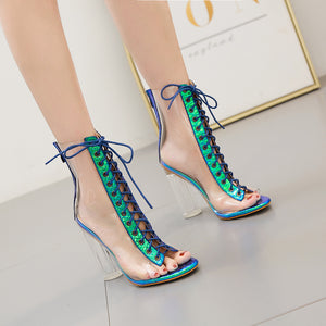 Transparent PVC fashion show cross-lace boots with thick high heels
