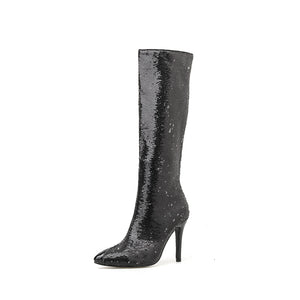 New sequined pointy stiletto boots