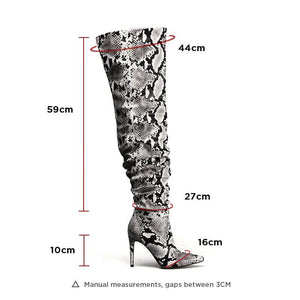 Blanca Snake Ruched Thigh High Boots