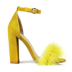 Summer Sexy High Heels Women Sandals with Fur
