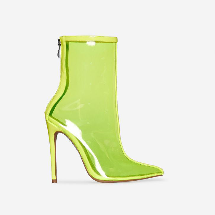 SELINA COLOURED PERSPEX ANKLE BOOT IN YELLOW PATENT