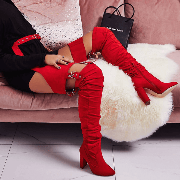 NICKI RED SUEDE BELT THIGH HIGH BOOTS