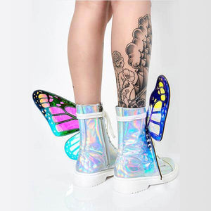 Phantom silver butterfly Wings Strap Boots