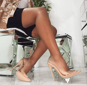 Clear PVC Sandals Perspex Heel Stilettos High Heels 8CM/3.15 INCH