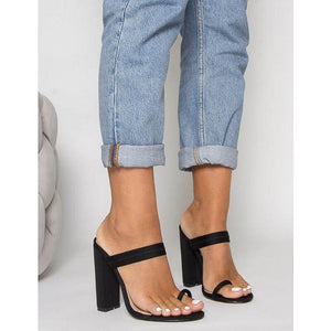 HAILEE BLACK LYCRA TOE LOOP MULES