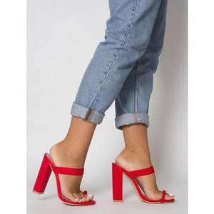 HAILEE RED LYCRA TOE LOOP MULES