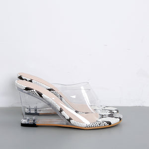 New transparent crystal wedge sandals