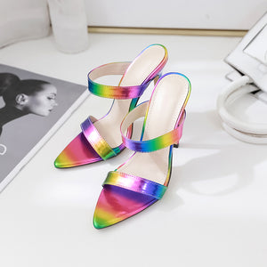Colorful stiletto sandal slippers