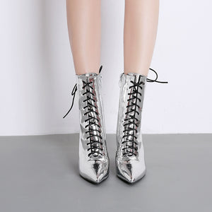 Fashion electroplating with thick with ultra-high with pointed with short boots