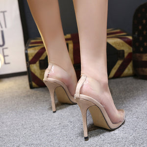 Sexy transparent pointy ultra - high heel shoes