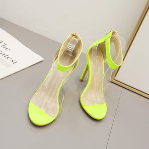 Fluorescent candy colored trendy Roman high heel sandals