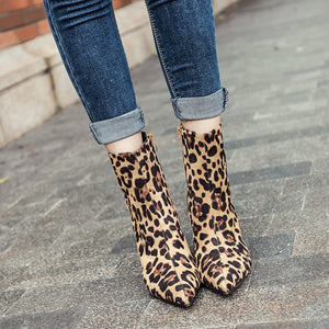 Leopard print suede ankle boots with pointed tips
