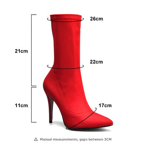 STRETCH FABRIC POINTED TOE ANKLE BOOTS