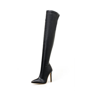 Sexy pointy thigh-high boots with stiletto heels