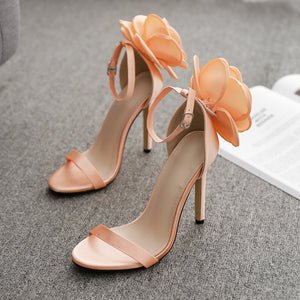 Hand-made large flower wedding shoes with high heel sandals