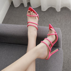 High heels pointed slippers and sandals