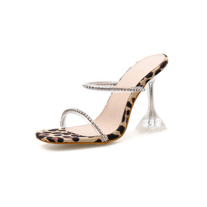 Stylish water drill simple word with crystals with stiletto slippers