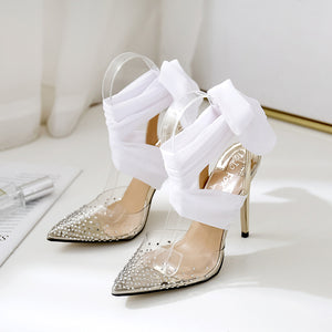 Sexy pointed transparent TPU ankle tied ribbon stiletto heels