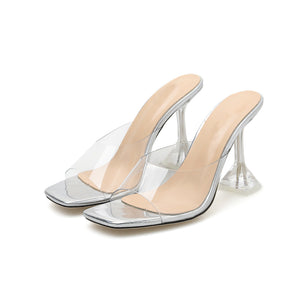 Transparent vamp transparent heel square toe high heel sandals slippers for women