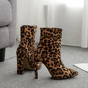 Leopard print ankle boots with pointed square heels