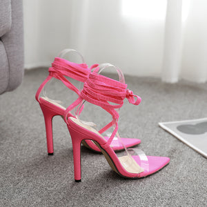 Fluorescent cross-strap high-heeled sandals