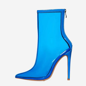 SELINA CLEAR PERSPEX ANKLE BOOT IN BLUE PATENT