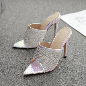 Diamond Pointed Toe High heel party sandals slippers