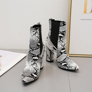 Fashionable snake-grain elastic thick high heel boots