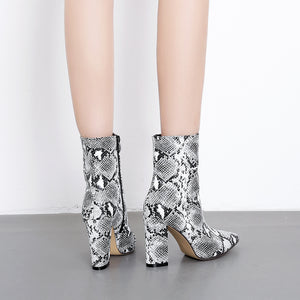 Patent leather fabric pointed thick high heel zipper knight boots middle boot