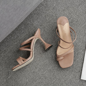 Thin belt wine glass high heel sandals slippers