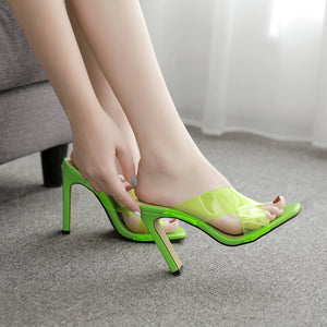 Transparent PVC thick heel muller sandals