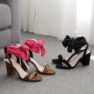 High heel leopard print sandals