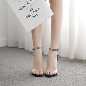 Web celebrity diamond high - heeled silver buckles sandals