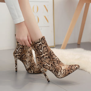 Snake-print sexy high-heeled pointy boots for women