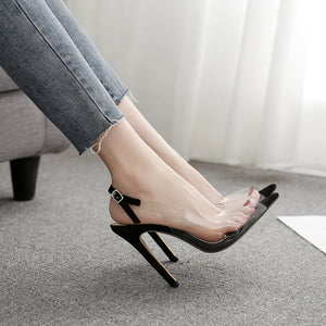 High-heeled PVC film sexy sandals
