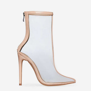 SELINA CLEAR PERSPEX ANKLE BOOT IN NUDE PATENT