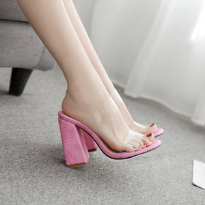 Serpentine candy color film cool thick high-heeled slippers