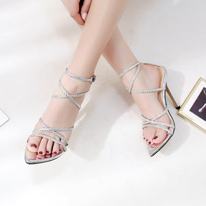 Ohichiic pointed toe high heels Sandals