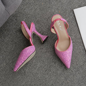 Sparkling pink sequins pointed wine glass with high heels