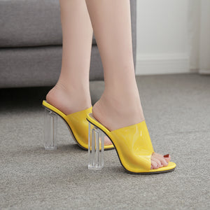 Crystal clear neon orange  slippers high heels