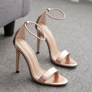 One-word sexy gold high-heeled sandals
