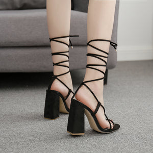Roman cross strappy high heel heel sandals