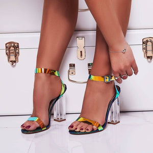 Crystal large size high heel sandals