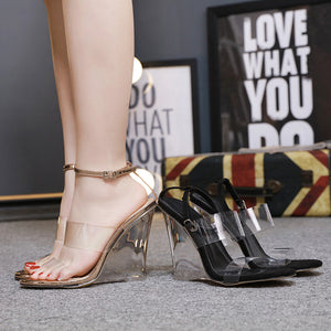 Sexy transparent crystal wedge high heel sandals