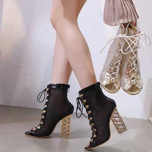 Mesh hollow-out high heel fish mouth female boots